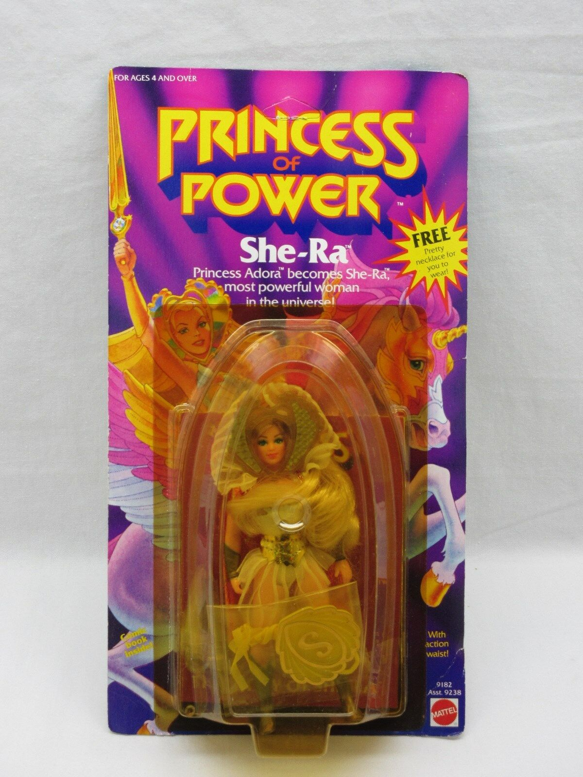 MOTU,VINTAGE,SHE-RA,W  FREE NECKLACE,Masters of the Universe,MOC,sealed,He-Man