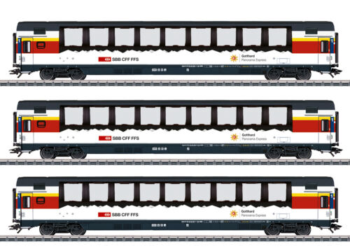 "Märklin 43650 vagoni treno rapido-Set /""Gottardo-PANORAMA-Express/"" SBB 3 pezzi #neu"