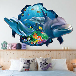 Novelty-Dolphin-3D-Wall-Decal-Sticker-Art-Mural-Vinyl-Home-Ceiling-Room-Decor-US