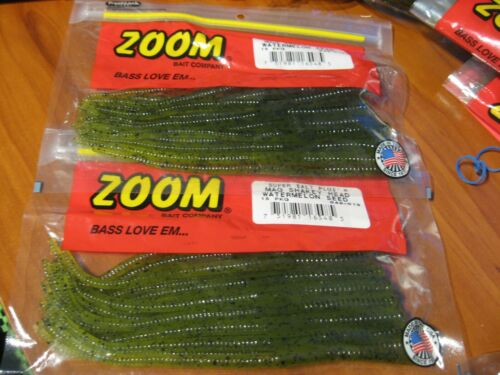 "2 Pks Zoom Soft Plastic Baits 7/"" Fishing Mag Shaky Head Watermelon Seed 049-019"