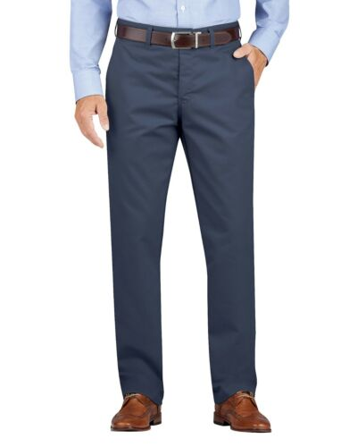 Dickies RINSED DARK NAVY KHAKI Regular Fit Tapered Leg Flat Front Pants WP902RDN