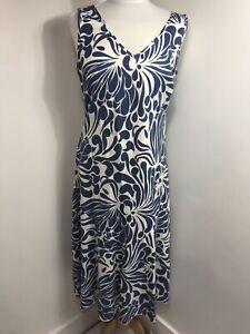 Marks-Spencer-Azul-Floral-Lino-Mezcla-and-Maxi-Vestido-Reino-Unido-14-Verano-Playa