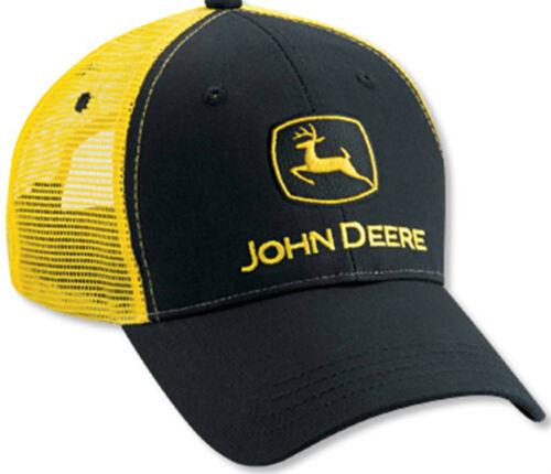 JOHN DEERE *BLACK /& YELLOW* Twill Mesh CAP HAT *BRAND NEW*