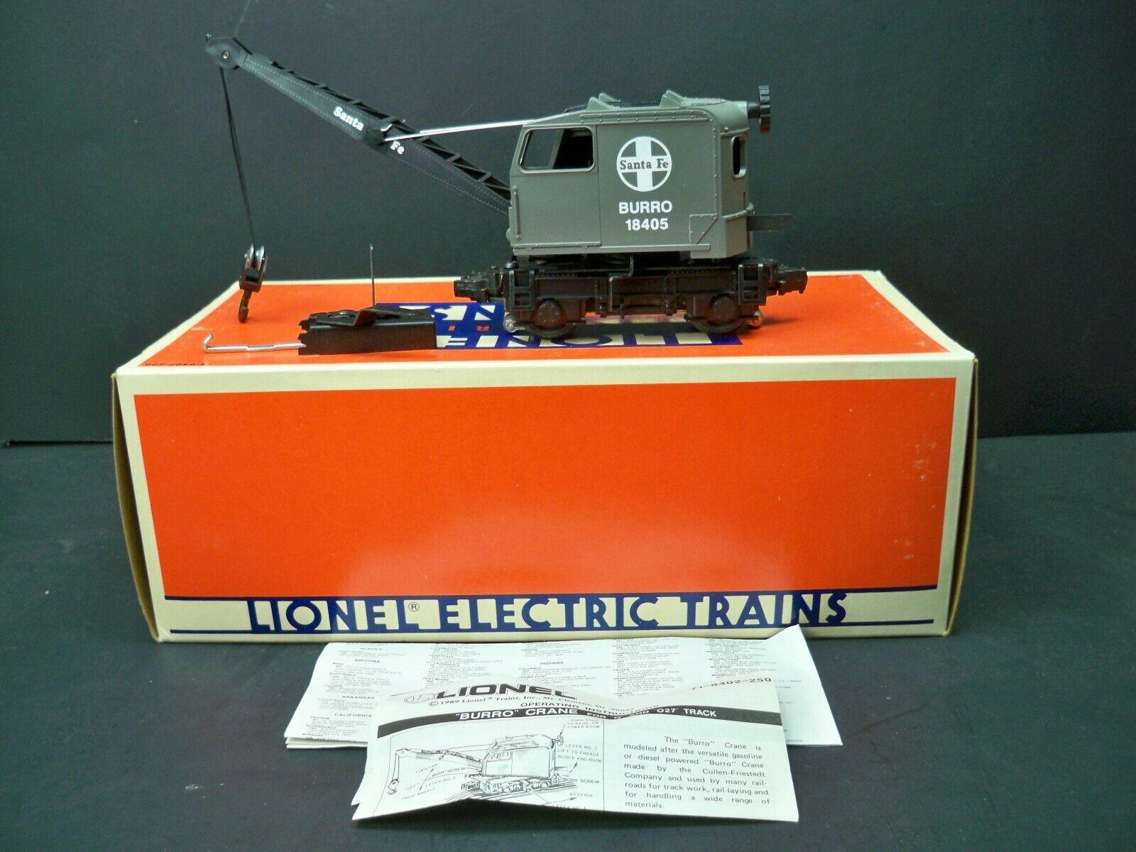 Lionel Train 6-18405 Santa Fe Burro Crane Car W  Actuator - Orig. Box - O Gauge