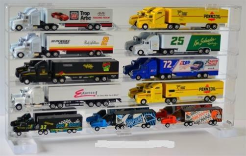 Wall Mount Diecast Car Display Case 1 64 Scale for 18 Wheeler Tractor  10 64