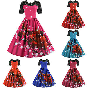 3c613fff32a7 Image is loading Womens-Girls-Lace-Santa-Christmas-Party-Dresses-Vintage-