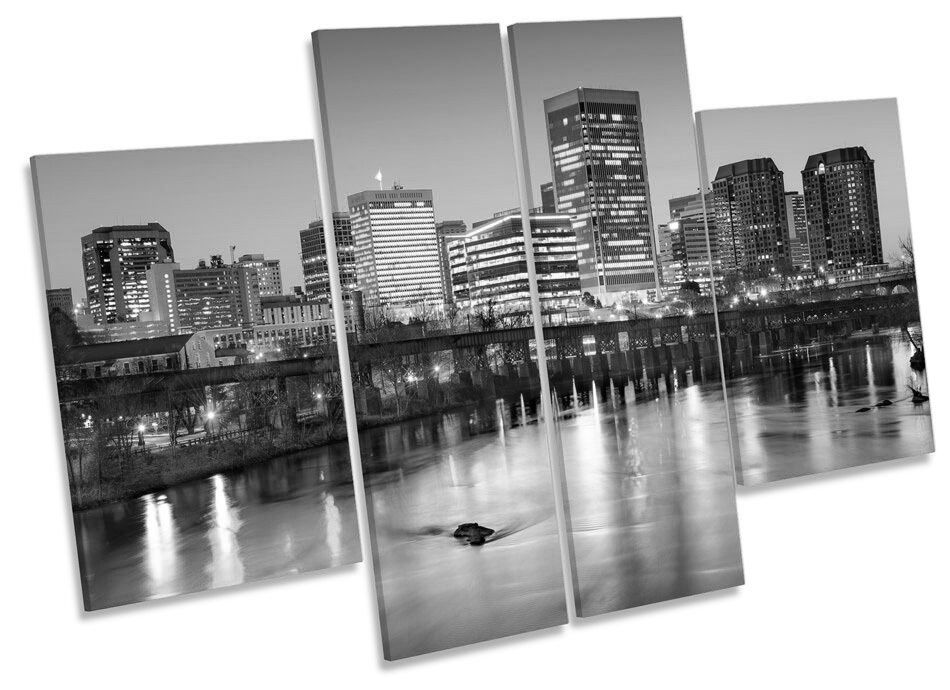 RICHMOND CITY VIRGINIA SKYLINE SKYLINE SKYLINE B&W ART. a muro pannello Multi Stampa Immagine e6bfed