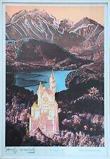 """Farblithographie """"Neuschwanstein"""" 1987 Version Rot, Andy Warhol, Originalrahmen!"""