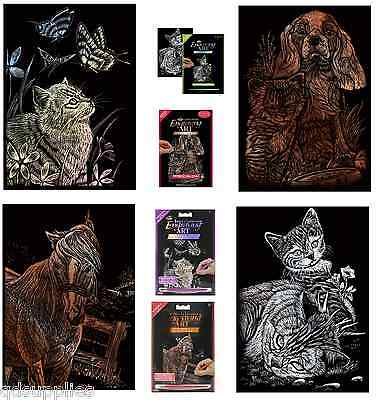 cat//puppy /& Yegua Caballo /& cat//butterfly Set 4 X Grabado Arte A5 Kits cat//kitten
