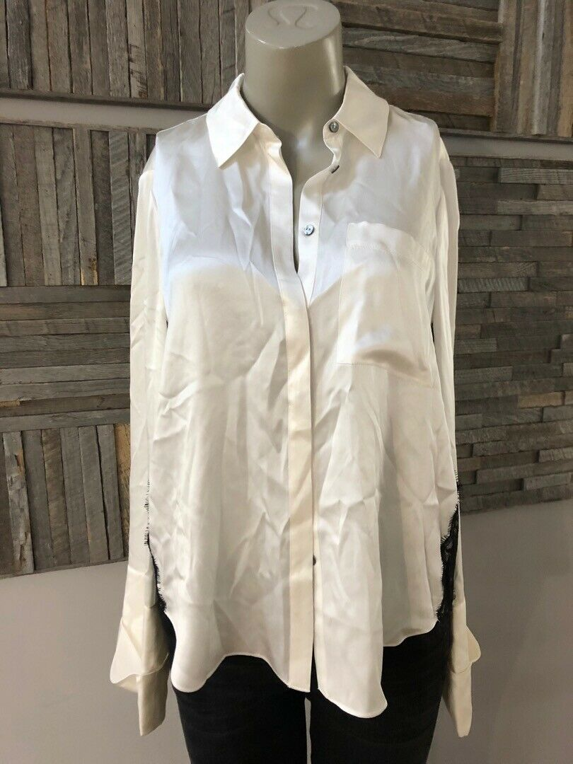 Cinq A Sept Korlan Silk Lace Trim Button-Down Top Größe Medium