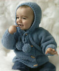 baby childs boys jacket with collar or hood  knitting pattern 99p