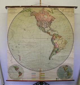 Schulwandkarte-Westliche-Halbkugel-174x192cm-vintage-planiglobe-wall-chart-1914