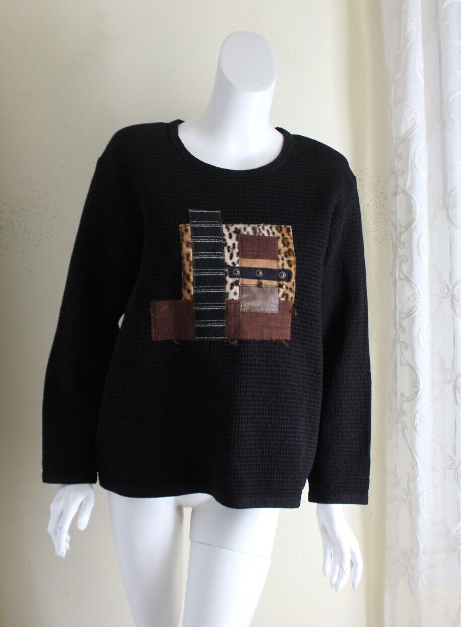 Focus -Sz S Unusual Art-Wear schwarz Funky Waffle Round Neck Tunic Shirt Top
