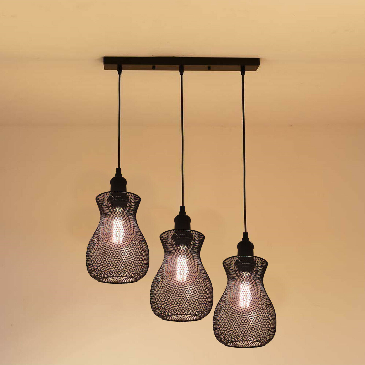 Lampade Sospensione A Grappolo details about style chandelier modern ceiling shade metal light 3 head  cluster- show original title
