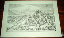 Graz: alte Ansicht Merian Druck Stich 1650 Panorama