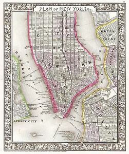 MAP-ANTIQUE-1866-MITCHELL-NEW-YORK-CITY-PLAN-LARGE-REPLICA-POSTER-PRINT-PAM1867