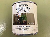 Rustoleum American Accents Gold Metallic Paint Satin Finish 1/2 Pint