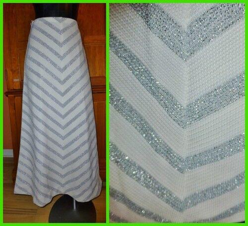 Vtg 70s SILVER CHEVRON Stripe Metallic Knit Hippie