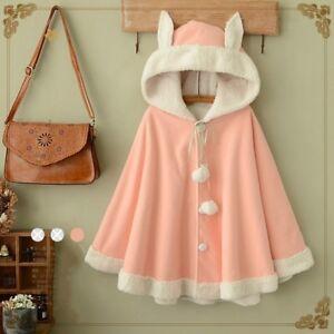 Lady-Girls-Cloak-Cape-Coat-Winter-Fleece-Ear-Hooded-Baggy-Poncho-Japanese-Kawaii