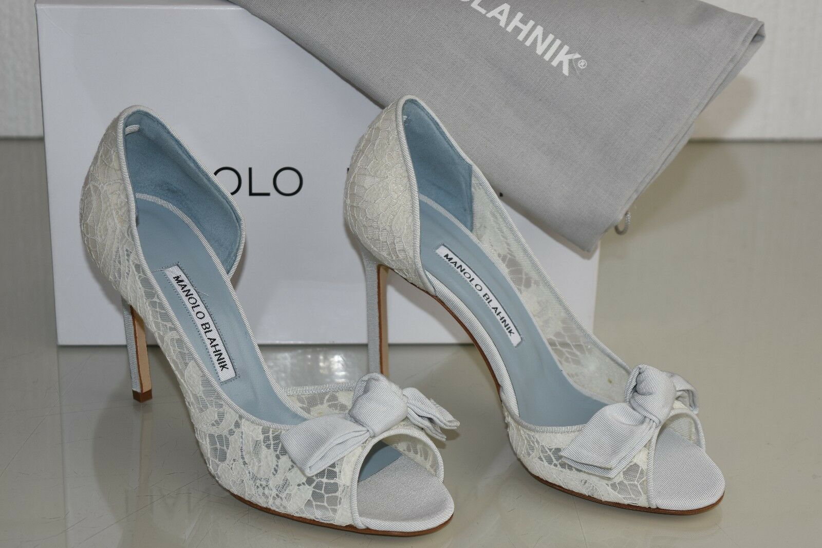 NEW MANOLO BLAHNIK SILVANU Lace d'Orsay shoes Ivory bluee Wedding 36 37 38 39 40