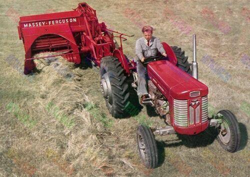 A3 Poster Massey Ferguson 65 Tractor /& Bailer