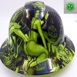 Hard-Hat-FULL-BRIM-custom-hydro-dipped-OSHA-approved-LIME-GREEN-BIKER-BABES