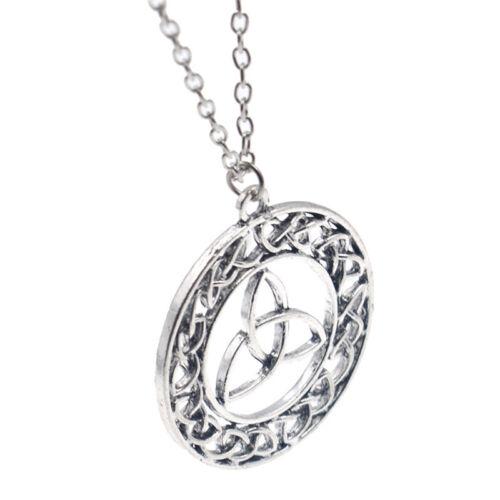 Viking Pendant Elegant Necklace Celtic Knot Lucky Amulet Silver Chain Vintage