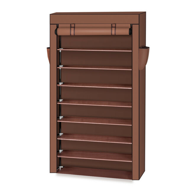 10 Tier Shoe Rack Cabinet 30 Pairs w/Cover Wall Bench Shelf Shoe Tower Closet US
