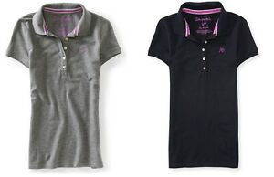 AERO-Aeropostale-Logo-Pique-Polo-Shirt-TOP-TEE-T-Black-or-Grey-2XL-NEW-NWT