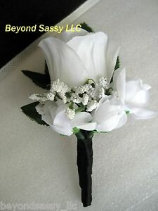 Black satin wrap single white rose bud flower boutonniere prom image is loading black satin wrap single white rose bud flower mightylinksfo Image collections
