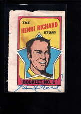 1971-72 TOPS BOOKLET #6 HENRI RICHARD AUTHENTIC  AUTOGRAPH SIGNATURE AX3041