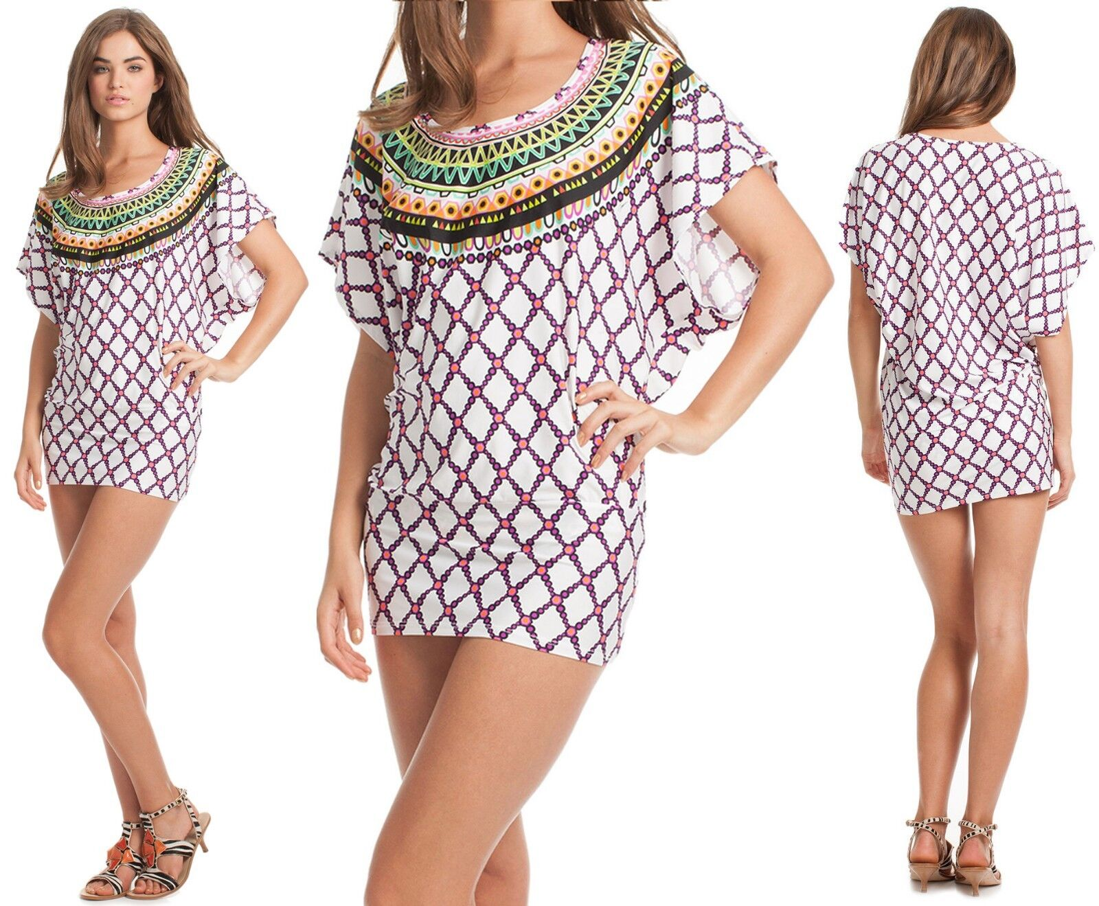 148 Trina Turk Kon Tiki Print Stretch Jersey Swim Cover Up Tunic Dress