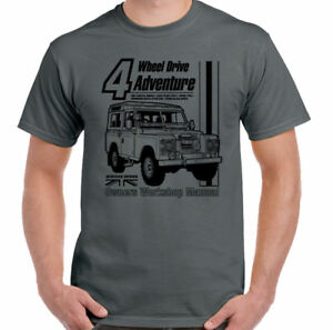 Land-Rover-Defender-Manual-Haynes-Style-Mens-Funny-4X4-T-Shirt-90-110-Landy-Jeep