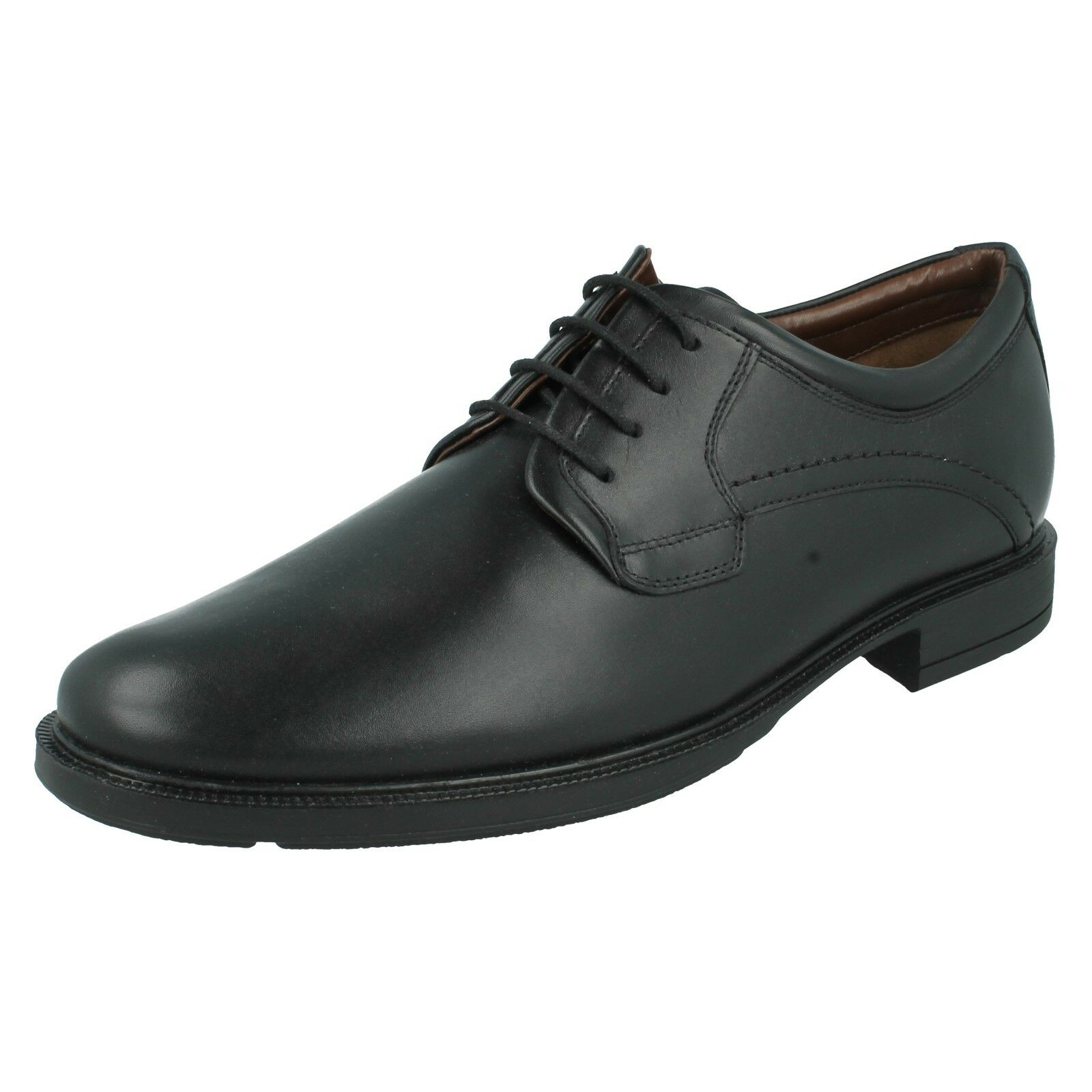 MENS HUSH PUPPIES BLACK LEATHER LACE UP WIDE FIT FORMAL WORK SHOES MICHIGAN 3