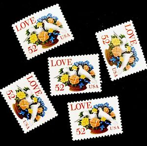 US #2815 52c Love Stamp (1994) - DOVE BOUQUET, Set of 5 Singles MNH