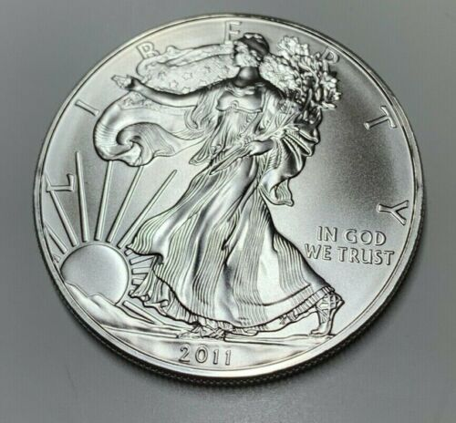 FROM MINT ROLL ONE 2011 AMERICAN SILVER EAGLE BU BEAUTIFUL COINS IN 2011