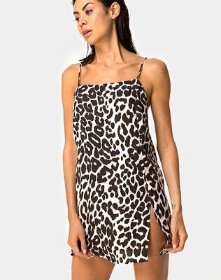 MOTEL ROCKS Datista Slip Dress in Satin Cheetah Navy XS mr36