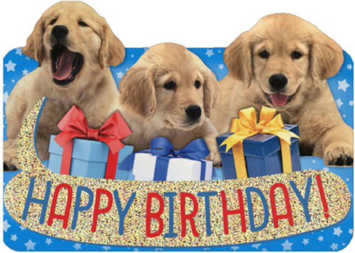 Row of Birthday Lab Puppies Die Cut Foil Paper House Birthday Card For Kids