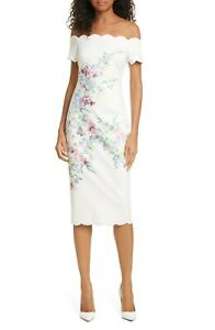 TED-BAKER-trixiiy-pergola-FLORAL-OFF-THE-SHOULDER-SHEATH-DRESS-sz-5-US-12