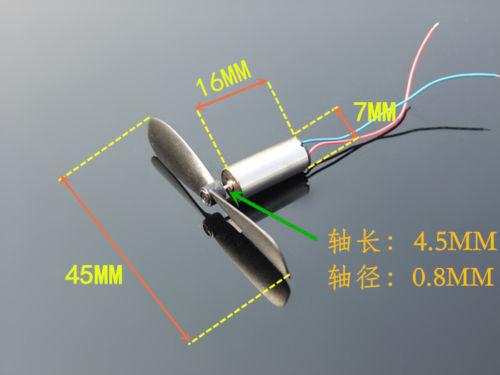 2pcs DC3.7-4.2V  7*16.5MM Micro DIY Helicopter Coreless DC Motor K152