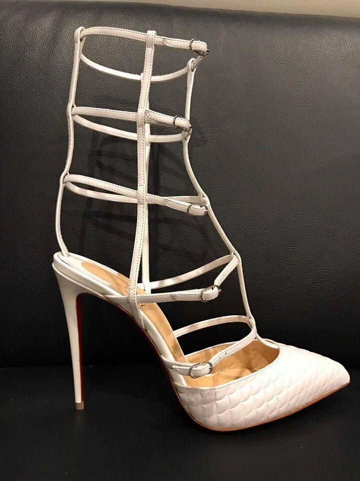 NIB Christian Louboutin Caged Kadreyana 100 Weiß Leder Caged Louboutin Strappy Pump Heel 38 2a0e67