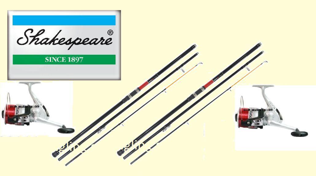 2 x Shakespeare Omni 13ft Beachcasting Fishing Rods & Linaeffe Silk Reels & Line