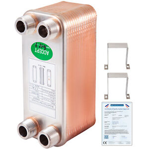 VEVOR Plate Heat Exchanger Brazed TEC 65 KW 30 Plate Heat Exchanger for Heating