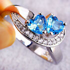 Fashion Heart Blue White Gemstone Jewelry Women Silver Ring Size 6 7 8 9