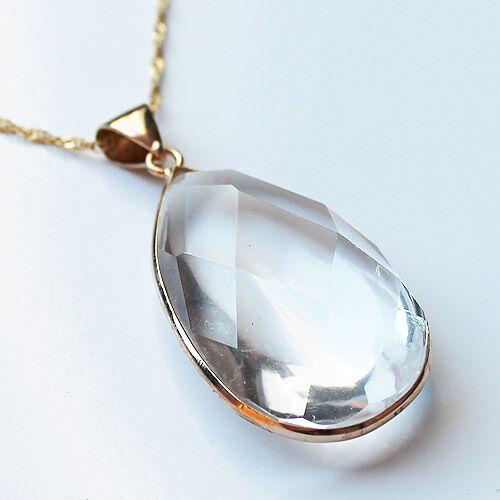 24K Gold Semi-Precious Natural Stone Crystal Quartz Chunky Teardrop Pendant