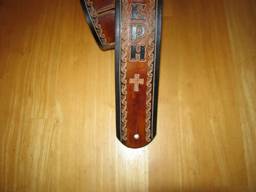 2 1//2 /'/' CROSSES BROWN//BLACK CUSTOM MADE LEATHER GUITAR STRAP WITH YOUR NAME