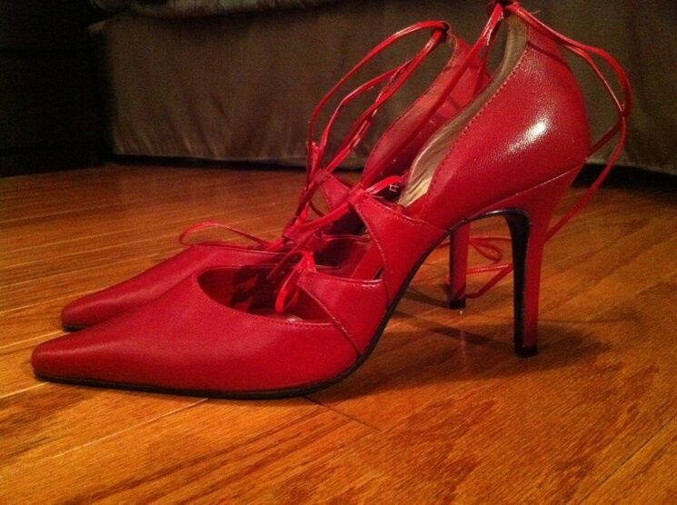 NEW Leather Red Heels - Red Pumps - Red Stilettos Pointy Toe Classy Sexy Lace-up