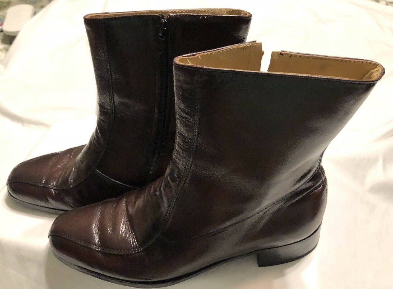 Nunn Bush Dress Ankle Boots Brown Leather 71/2 Side Zip Retro Mens 71/2 Leather D b31472