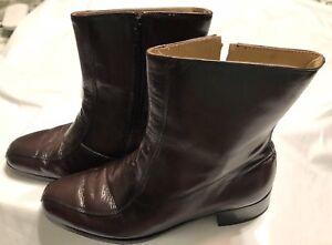 Nunn Bush Dress Ankle Boots Brown Leather Side Zip Retro