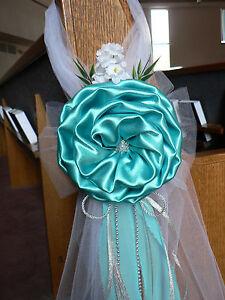 Details About Wedding Decor Chair Bows Pew Bows Tiffany Blue Silver Church Aisle Decor